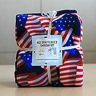 Patriotic American Flags Anti-Pill No-Sew Throw Fleece Fabric Kit (50x60)