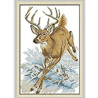 クロスステッチキット DIY 手作り刺繍キット マルチストランド綿糸ニットクロスステッチ刺繍キット- 動物の鹿28x42cm(フレームレス)