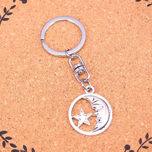 HGFJG Moda Círculo Luna Estrella Llavero Colgante Llaveros Bolso De Hombro Accesorios De Coche para Mujeres Niñas Regalo para Niños