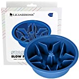 Leashboss Slow Feed Dog Bowl for Raised Pet Feeders - Maze Food Bowl Compatible with Elevated Diners (1.5 Cup - 6-6.25 Inch Feeder Holes, Blue)