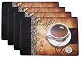 Set of 4 Coffee Pattern Fashion Placemats Durable Foam Backing Ease Care Wipe Clean Table Place Mat Set 12' X 18'