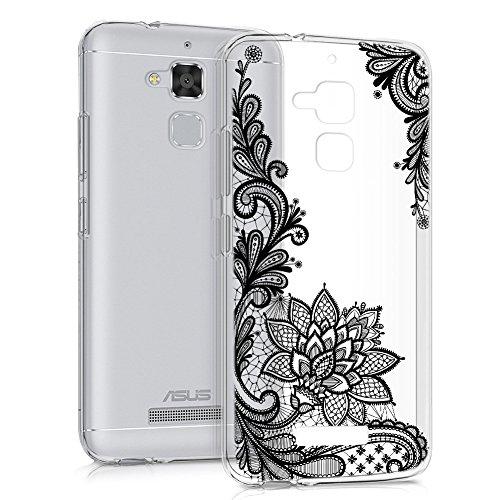 Cover Asus ZenFone 3 Max 5.2 ZC520TL, Eouine Custodia Cover Trasparente Silicone con Disegni Morbido Antiurto 3d Cartoon Gel TPU Bumper Case per Asus ZenFone 3 Max ZC520TL Smartphone (Fiore nero)