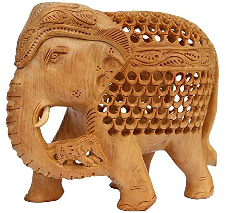 """SouvNear 7"""" Wood Mother Elephant Statue with Baby inside Tummy and on the Trunk - Baby Shower Gifts"""