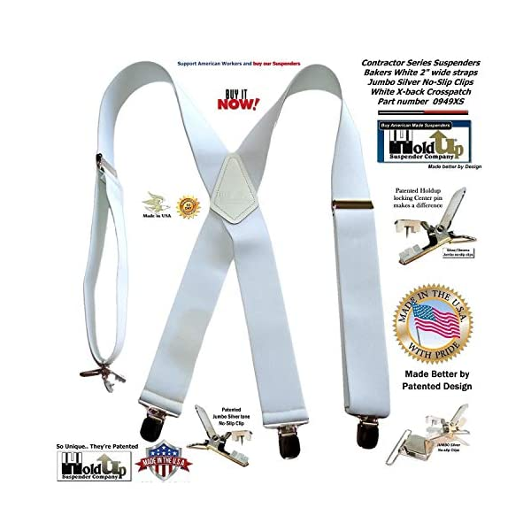 Holdup Contractor Series 2″ X-back Work Suspenders with Patented No-slip Clips