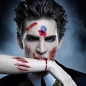 Anear 20 Stück Halloween Tattoo, Halloween Narben Wunden, Halloween Accessoires, Zombie Makeup
