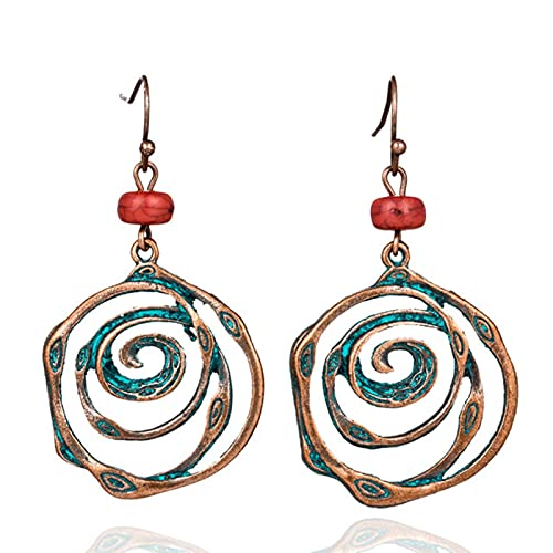 CHENLING Multi remolino espiral círculos rondas pendiente único bohemio boho étnico vintage perlas colgantes pendientes para las mujeres joyas al por mayor