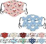 2-lagiger Kinder Behelfs-Mundschutz für Weihnachten, Gesichtsmaske mit Xmas Motiven für Jungen und Mädchen (6-12jährige) - 2er Set - (M31)