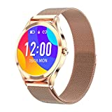 Smart Watch for Women Men,1.3' Full Touch Color Screen Fitness Tracker Compatible with iOS and Android Phone,IP67 Waterproof Activity Tracker with Heart Rate Sleep Monitor Step Counter (Gold)
