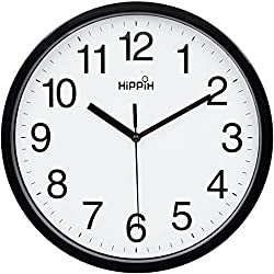 Yoobure 10 Silent Quartz Decorative Wall Clock Non-Ticking Classic Digital Clock Battery Operated Round Easy to Read Home/Office/School Clock (Black)