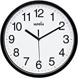 10 Silent Quartz Decorative Wall Clock Non-Ticking Classic Digital Clock Battery Operated Round Easy to Read Home/Office/School Clock (Black)