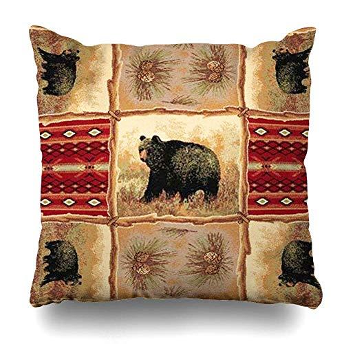 Funda de almohada Southwest rústico cabin Lodge Bear con estampado de animales, tamaño cuadrado, 45 x 45 cm, fundas de almohada