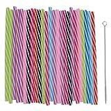 Inzopo - Cannucce riutilizzabili colorate, riutilizzabili, cannucce in plastica rigida a righe + 1 spazzola per la pulizia per barattoli e bicchieri per la casa, feste