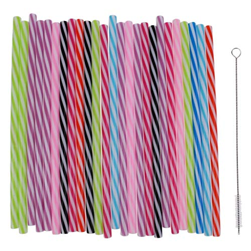 Confezione da 25 cannucce colorate riutilizzabili in plastica rigida a righe per barattoli e bicchieri per la casa e la tavola