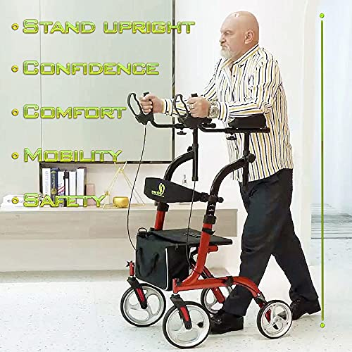 WINLOVE Upright Rollator Walkers for Seniors Stand Up Aluminium Tall Walker Light Weight for Rolling Mobility Walking Aids Orange