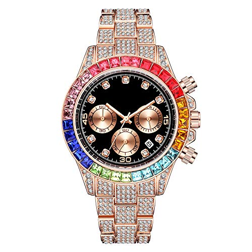 Damofy Iced out Hip Hop Watch Bling Relojes de Pulsera de Diamantes simulados con chasis Negro Dial Calendar Quartz Three Sub-dial Rap Rock Watches Bracelet Chronograph for Men Women
