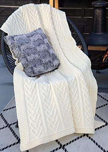 SAOL Irish Aran Throw Blanket Heart Pattern 100% Super Soft Merino Wool 67x49 inches