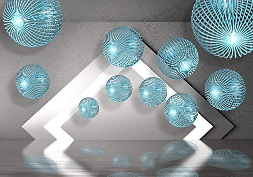 wandmotiv24 Fototapete Blau Kugeln 3D Effekt XL 350 x 245 cm - 7 Teile Fototapeten, Wandbild, Motivtapeten, Vlies-Tapeten Modern, Wasser, Beton M1325