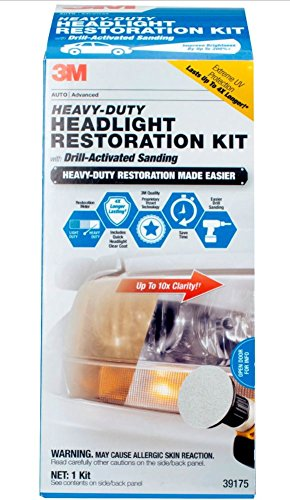 3M Heavy Duty Headlight Restoration Kit with Quick Clear Coat, 39175