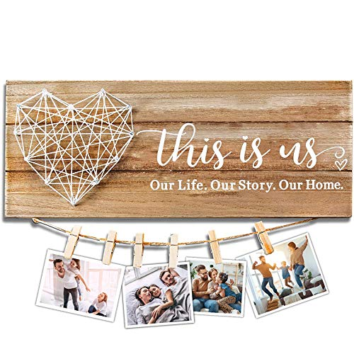 Cocomong This Is Us Wall Decor, Housewarming Gifts for New Home, Rustic Wooden Signs for Home Decor, Farmhouse New Home Gifts for Couples, Family Picture Frame13.5 X 5.5 Inch with 6 Clips