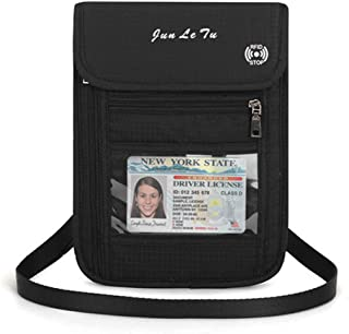 Travel Passport Wallet Document Organizer Holder, Neck Pouch Wallet with RFID Blocking for Men Women (Black)