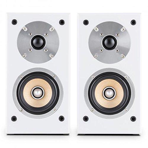 auna Linie 501BS Paar Lautsprecher Regal-Lautsprecher Passive (Technologie A 2Wege, Midrange von 10cm und Hochtöner von 2.5cm, 50Watt RMS)–weiß