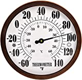 12' Indoor Outdoor Thermometer Decorative - Large Outdoor Thermometers for Patio, Round Wall Thermometer with Stainless Steel Enclosure, No Battery Needed Hanging Thermometer Outdoor (Bronze)