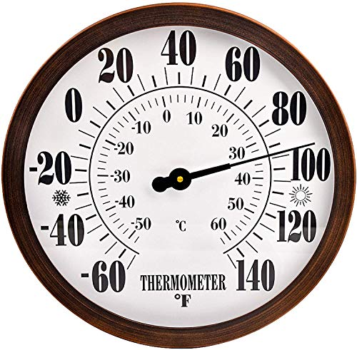 12  Indoor Outdoor Thermometer Decorative - Large Outdoor Thermometers for Patio, Round Wall Thermometer with Stainless Steel Enclosure, No Battery Needed Hanging Thermometer Outdoor (Bronze)