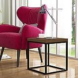 CENSI Table d'appoint moderne en bois et métal - Table de chevet avec plateau en bois de noyer foncé - 40 mm d'épaisseur - Forme carrée - Style simple et industriel (chêne foncé)