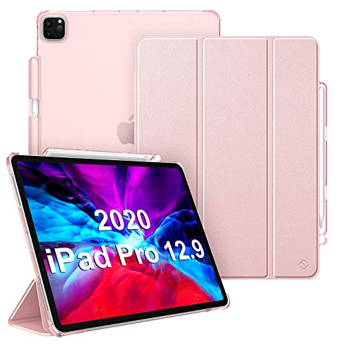 CaseBot SlimShell Case for iPad Pro 12.9' 4th & 3rd Generation 2020/2018 with Pencil Holder - Lightweight Cover Translucent Frosted Stand Hard Back, Auto Wake/Sleep (Rose Gold)
