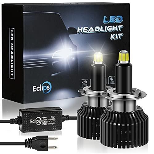 ECLIPS Lampadine H7 LED, 70W 16000LM, Luci per Auto Abbaglianti o Anabbaglianti, Kit 2 Lampade Canbus Fascio 8 Lati 360° 48 Chip CSP, Sostituzione Lampada Alogena e Fari Xenon, 12V 6000K Bianco