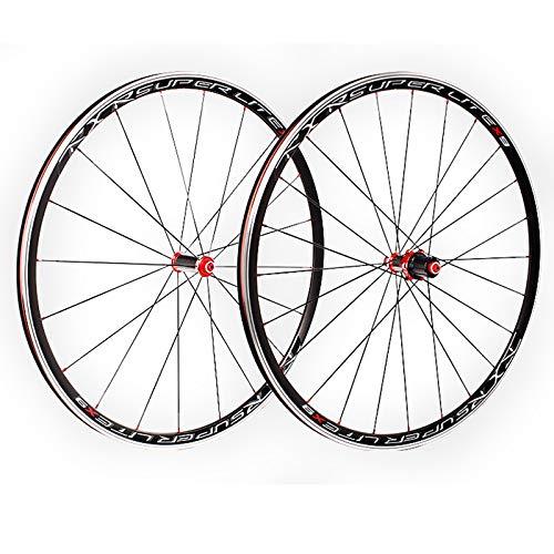 ZCXBHD 700C Bicicleta Carretera Frente Posterior Juego De Ruedas Buje Fibra Carbono V Freno 5 Palin Pared Doble Liberación Rápida 7 8 9 10 11 Velocidad Casete (Color : Red)