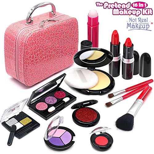 ROKKES Falsch Makeup Set Makeup Kinderschminke Set Schminkkoffer - Spielzeugset Schminkset 16 teilig...
