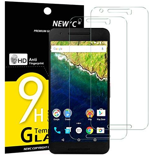 NEW'C 2 Stück, Schutzfolie Panzerglas für Google Nexus 6P, Frei von Kratzern, 9H Festigkeit, HD Bildschirmschutzfolie, 0.33mm Ultra-klar, Ultrawiderstandsfähig