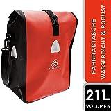 BYKLISTA Fahrradtasche Gepäckträger Tasche + Gratis eBook – Gepäckträgertasche Fahrrad Tasche Radtasche – Fahrradtaschen für Gepäckträger Wasserdicht mit Reflektoren & Schultergurt - rot