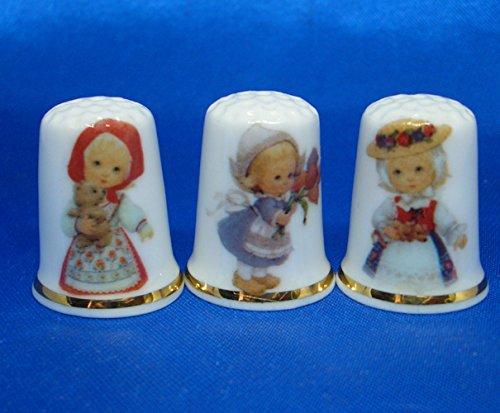Dedales de porcelana china, juego de tres  Tradicional disfraz para nias