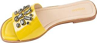 Chumbak Candied Lime Rhinestone Sliders for Women