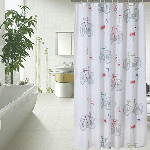 Fahrrad Duschvorhang Anti-Schimmel & Wasserdicht Polyester Stoff Badezimmer Badvorhang mit Haken 150/180/200/220/240 x 180cm Weiß