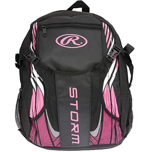 Rawlings Storm Girls T-Ball Softball Batting Bag Backpack Black/Pink