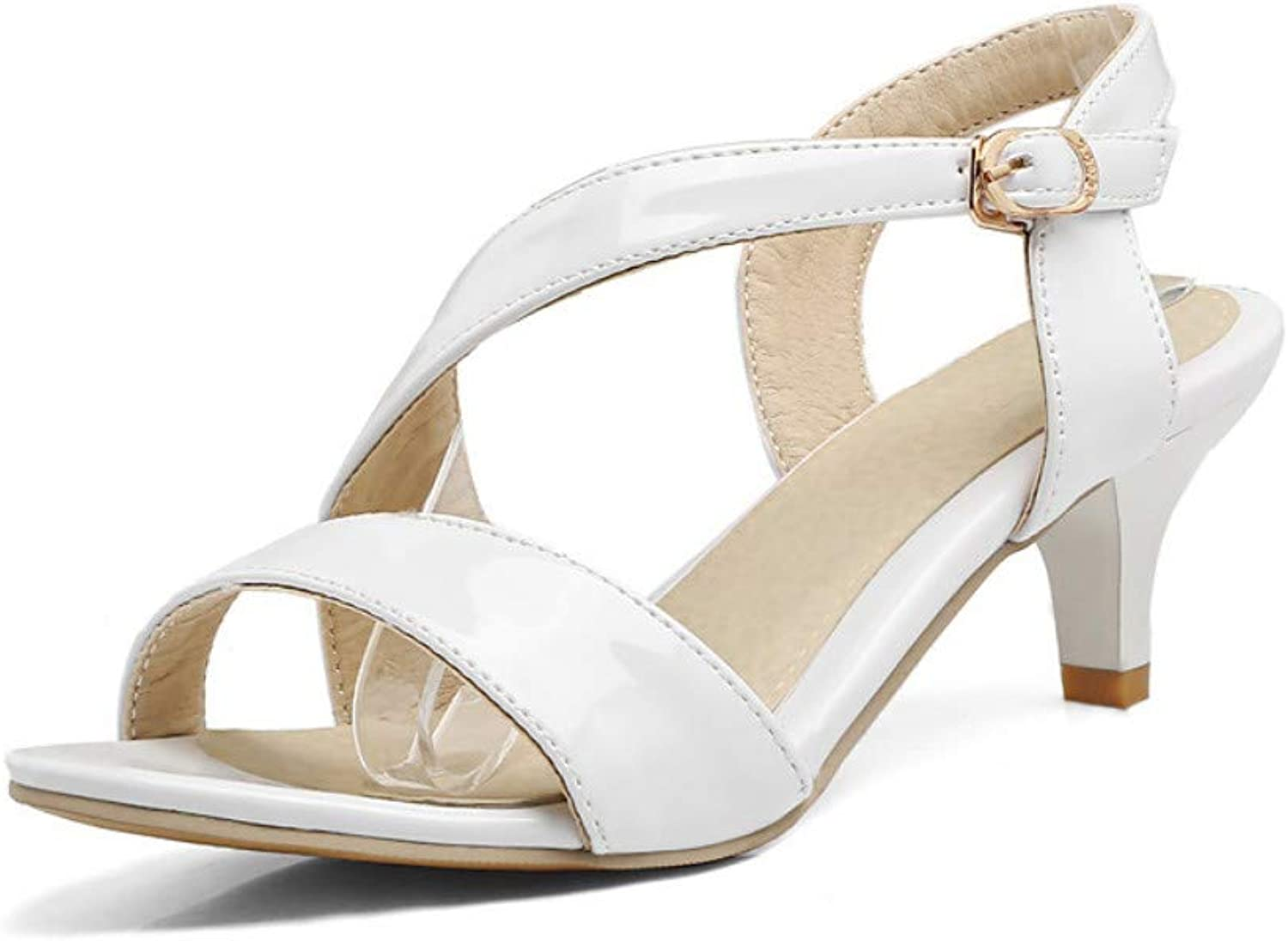 IWlxz Women's shoes PU(Polyurethane) Spring Summer Slingback Sandals Round Toe Buckle White Black Red Party & Evening Party & Evening