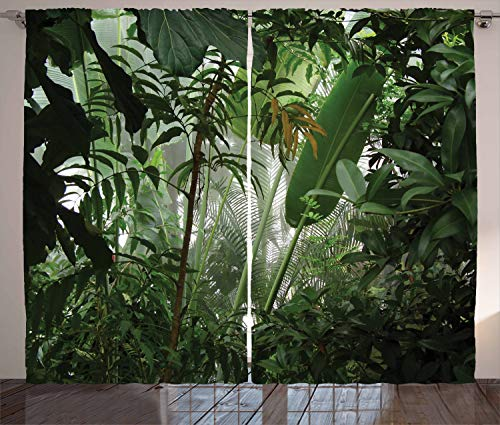 """Ambesonne Rainforest Curtains, Tropical Rainforest Preservation Humidity Palm Tree Wild Environment Misty Nature, Living Room Bedroom Window Drapes 2 Panel Set, 108"""" X 90"""", Green White"""