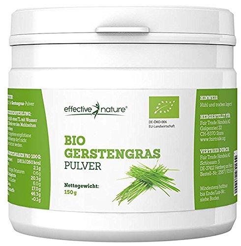 Effective Nature – Bio Gerstengras-Pulver | Sehr hoher Ballaststoffgehalt | Reich an Mineralstoffen | In Deutschland hergestellt | Hohe Nährstoffdichte | 150 g