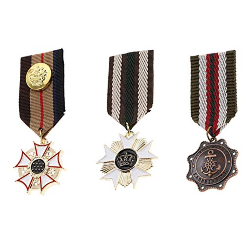 Fenteer 3 Pieces Retro Steampunk Badge Brooch Pin Metal Medal Costume Party Fancy Dress