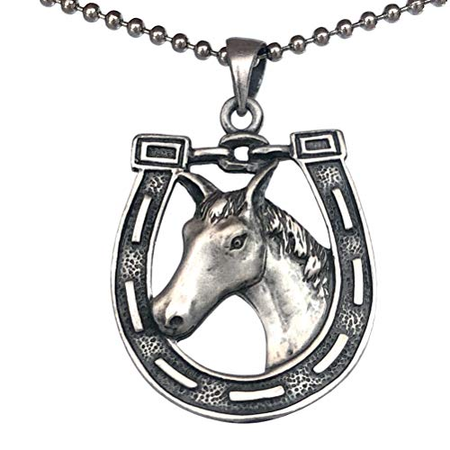 Country Western Native American Indian Jewelry Horseshoe Horse head Good Luck Charm Amulet Protection from evil and negative energy Pewter Men's Pendant Necklace for Men Unisex w Silver Ball Chain
