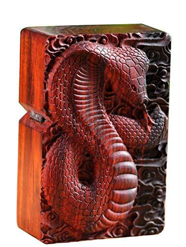 に適用するZippo(ジッポー)ライターモジュール用の天然ローズウッド彫刻シェルボックス(コブラスネーク)