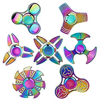 SCIONE Metal Fidget Spinner Toys 7 Pack,Stainless Steel Bearing 3-5 Min High Speed Stress Relief Spinning ADHD Anxiety Toys for Adult Kid Autism Fidgets Best EDC Hand Toy Focus Fidgeting