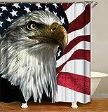 ZZZdz Amerikanische Flagge. Adler. Duschvorhang. 180 X 180 cm. 12 Freie Haken. Haus Dekoration. 3D Hd-Druck. Einfach Zu Säubern. Badezimmerzubehör.