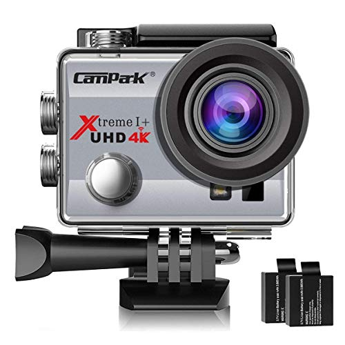 Price comparison product image Campark ACT74 Action Camera 4K 30fps WiFi Ultra HD Waterproof Sports Action Cam, Free Mounting Accessories 2 Rechargeable Batteries Bikes Motorbike Snorkeling(Silver)