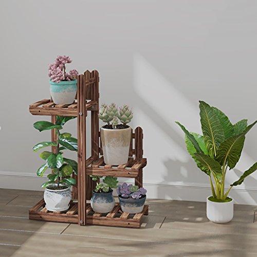 Support de fleur en métal Support de fleur Étagères en bois Intérieur et extérieur Multicouche Espace économisant l'espace bois massif Décoration de balcon Salle de séjour de radis vert (taille : A)