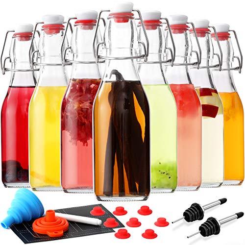 [ 8 Pack ] Swing Top Glass Bottles - 8.5 oz Flip Top Beer Brewing Bottles for 2nd Fermentation,...