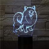 Papillon Puppy Dog 3D LED lámpara de escritorio Luz nocturna Lámpara de escritorio USB Control remoto Regalo para el hogar Regalo para niños